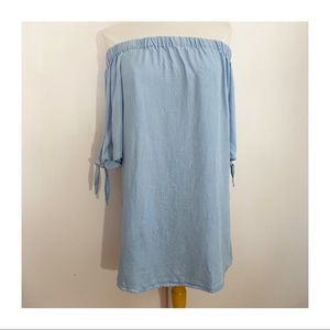 RUE 21 chambray off shoulder tie sleeve tunic M